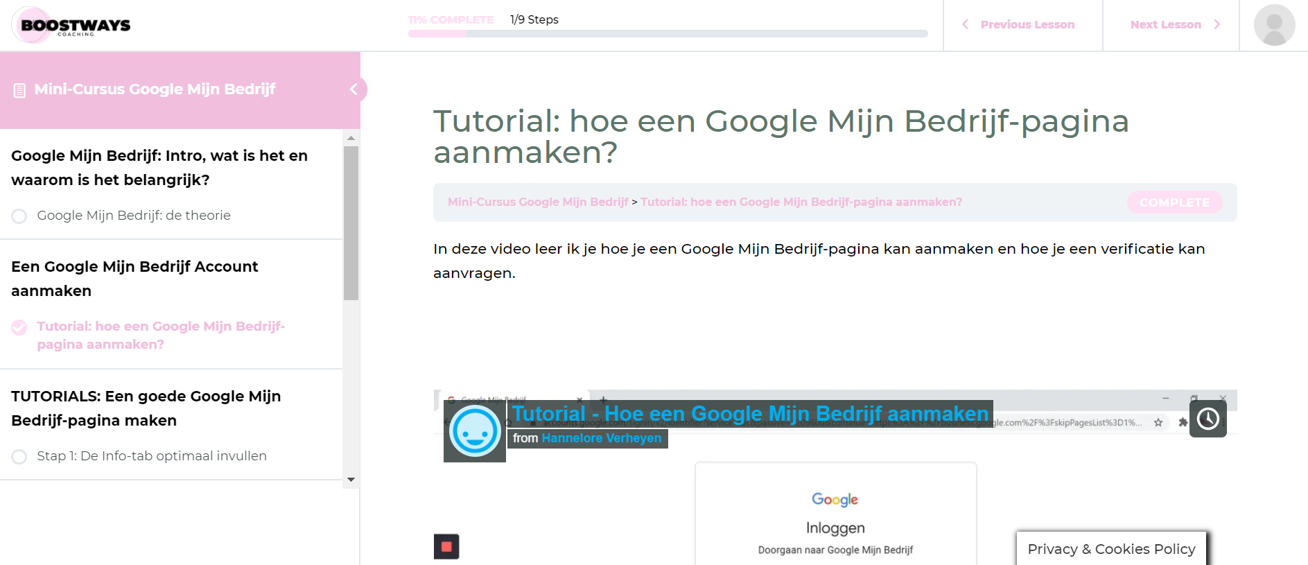 Google Mijn Bedrijf Minicursus